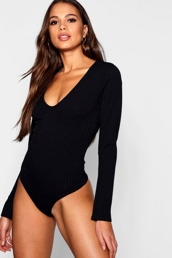 Womens Black Tall Long Sleeve Plunge Rib Bodysuit