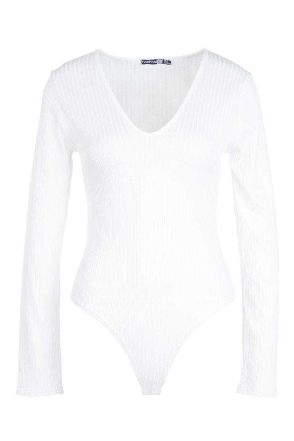 Tall Plunge Rib Bodysuit Long white Sleeve xxwg7