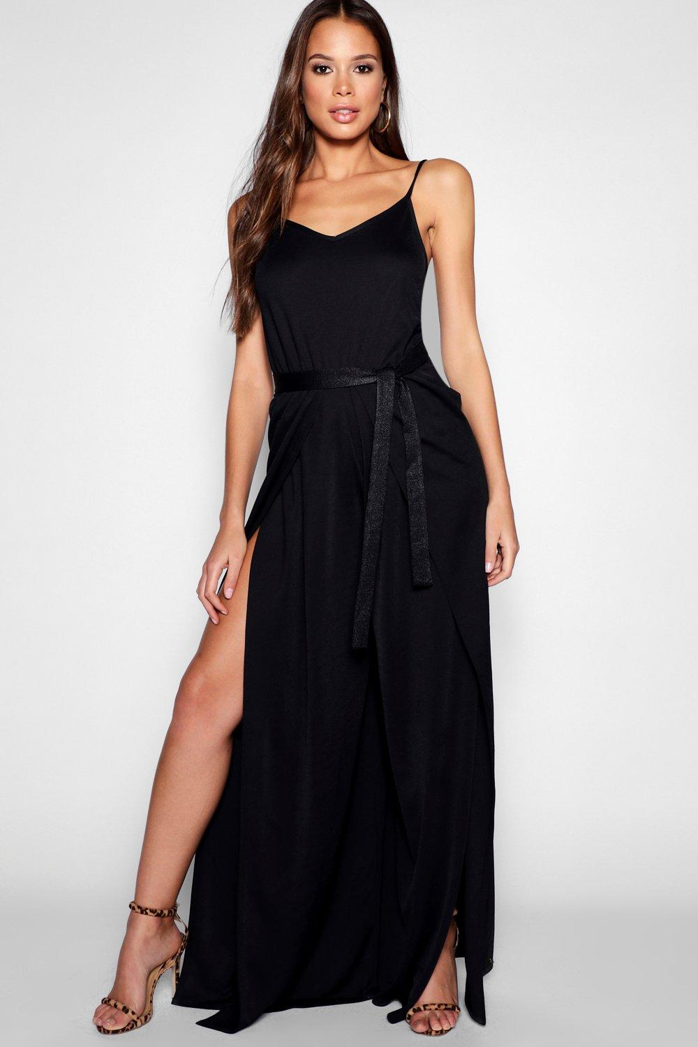 Tall Wrap Split Leg Strappy Jumpsuit