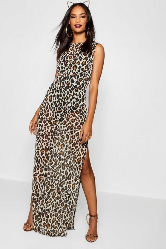 Tall Halloween Leopard Mesh Bodysuit Maxi Dress