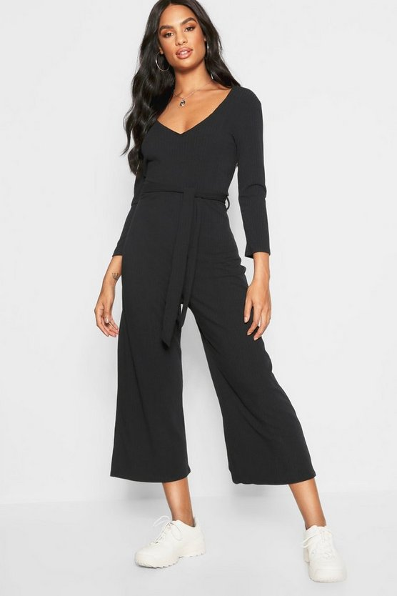 Womens Black Tall ¾ Sleeve Ribbed Culotte Jumpsuit