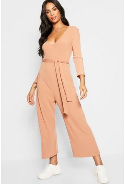 Womens Camel Tall ¾ Sleeve Ribbed Culotte Jumpsuit