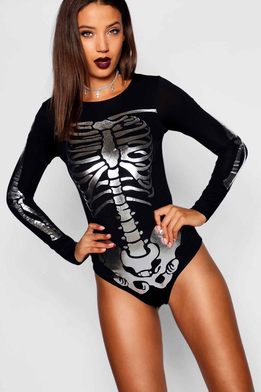 Skeleton Tall black Bodysuit Metallic Halloween EEqaSfBvw