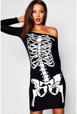 Black Tall Off The Shoulder Halloween Skeleton Dress