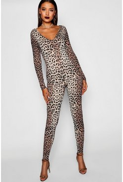 Womens Tall Halloween Leopard Print Catsuit