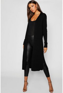 Womens Black Tall Side Split Maxi Cardigan