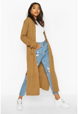 Camel Tall Side Split Maxi Cardigan