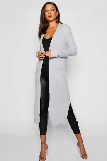 Womens Grey Tall Side Split Maxi Cardigan
