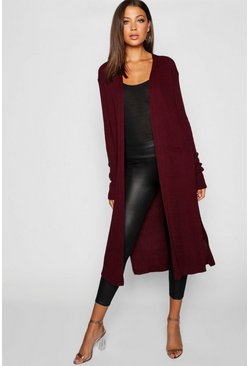 Womens Wine Tall Side Split Maxi Cardigan