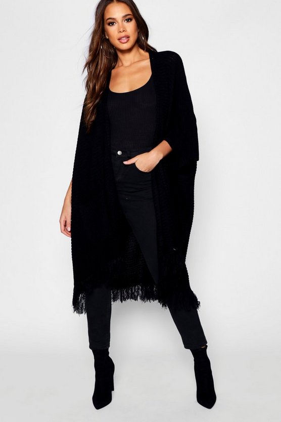 Tall Tassel Hem Cape Cardigan, Black, FEMMES