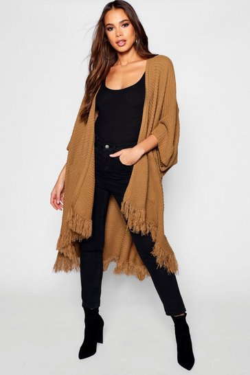 Womens Camel Tall Tassel Hem Cape Cardigan
