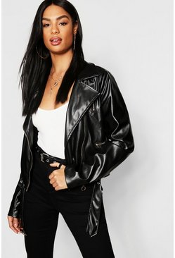 Womens Black Tall Faux Leather Jacket