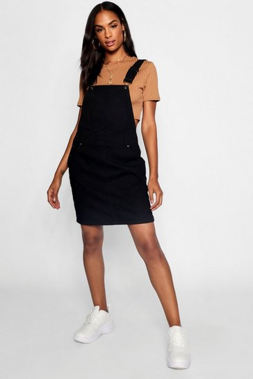 Womens Black Tall Pocket Front Pinafore Dress