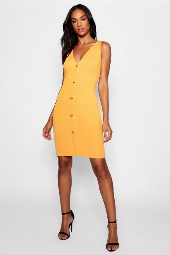 Tall Mock Horn Button Rib Midi Dress