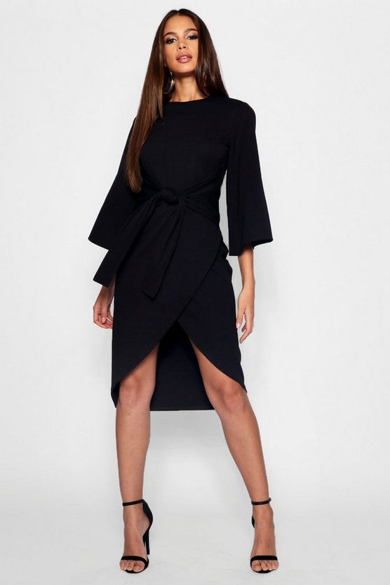 Tall Kimono Sleeve Wrap Midi Dress