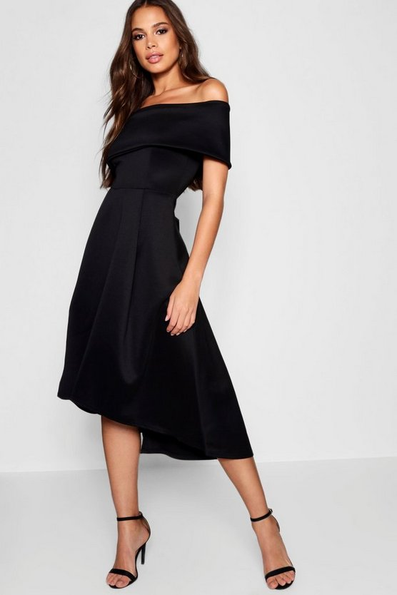 Tall Double Layer Midi Dress, Black, FEMMES