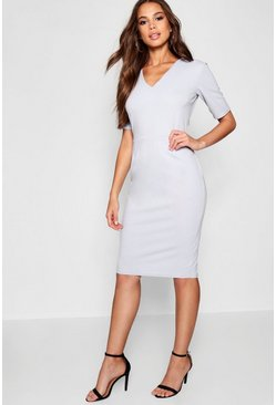 Womens Grey Tall V Neck Midi Dress