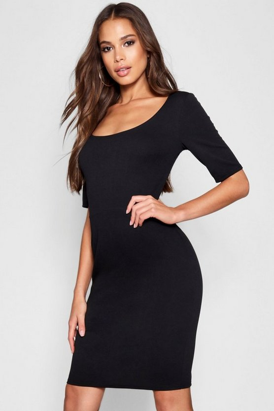 Womens Black Tall Scoop Neck Bodycon Dress