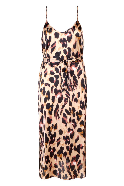 Tall brown Midi Dress Strappy Satin Leopard qwXxqrU