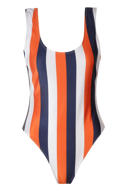 Swimsuit School orange Scoop Stripe Tall C1HqFww