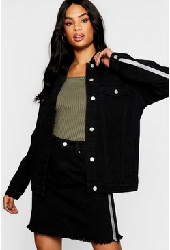 Womens Black Tall Embellished Denim Oversized Jacket