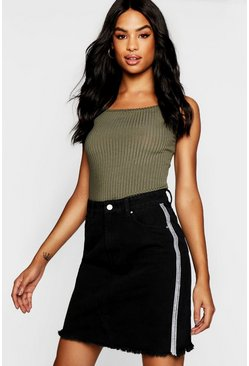 Womens Black Tall Embellished Denim Skirt