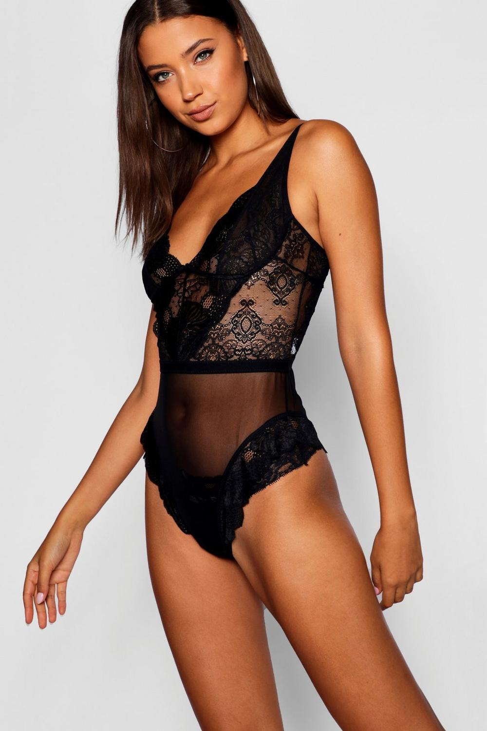 black Tall Plunge Lace Bodysuit Lace Bodysuit black Tall Plunge OOrq8w