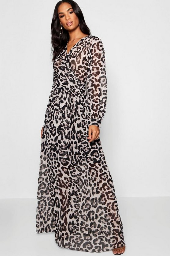 Tall Sheer Leopard Print Maxi Dress