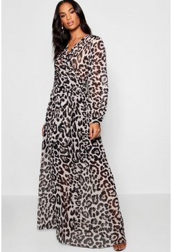 Womens Grey Tall Sheer Leopard Print Maxi Dress