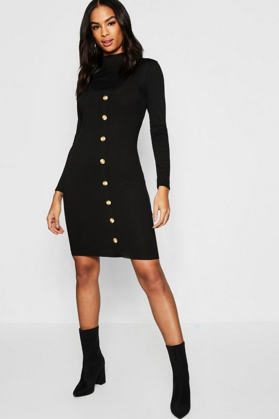 Tall Tortoise Shell Button Micro Mini Dress