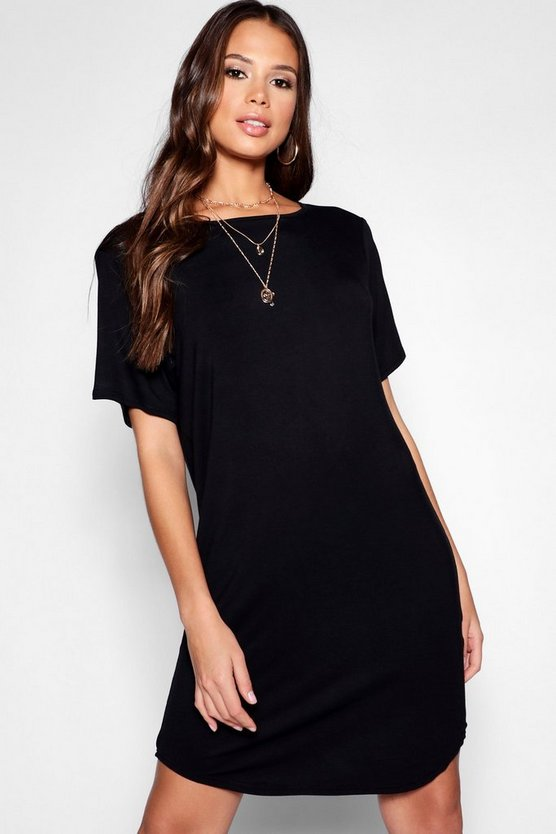Womens Black Tall Curved Hem T-Shirt Dress