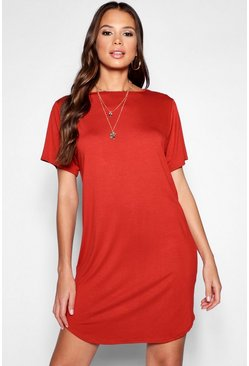 Womens Rust Tall Curved Hem T-Shirt Dress