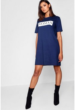 Womens Navy Tall Woman Oversized T-Shirt Dress
