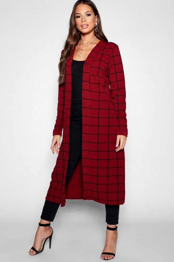 Tall Checked Duster, Berry, FEMMES