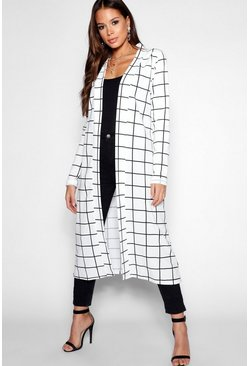 Tall Checked Duster, White, FEMMES