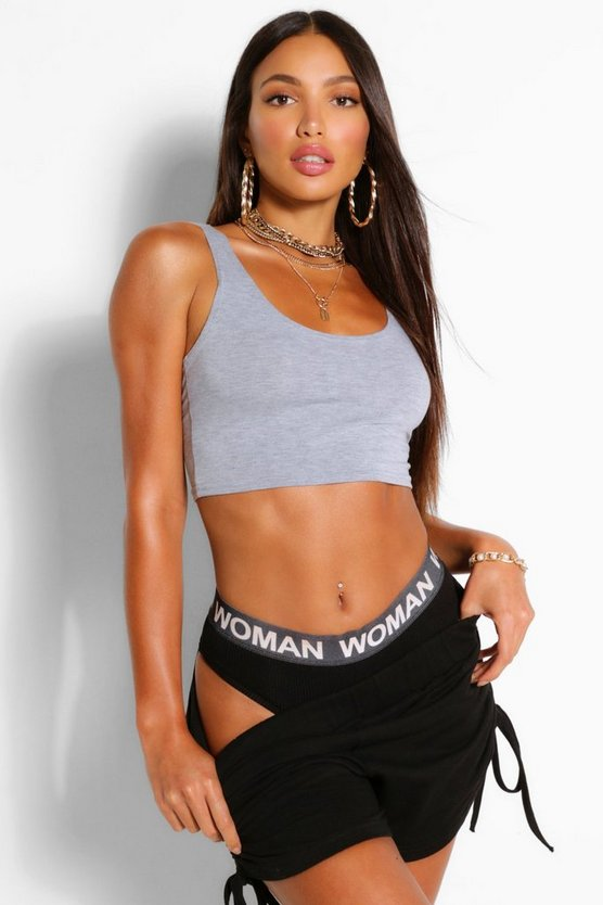 Womens Grey Tall Basic Scoop Neck Crop Top