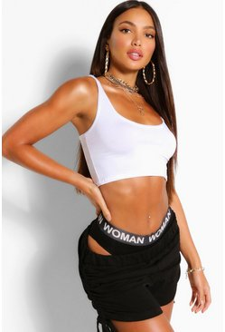 Womens White Tall Basic Scoop Neck Crop Top