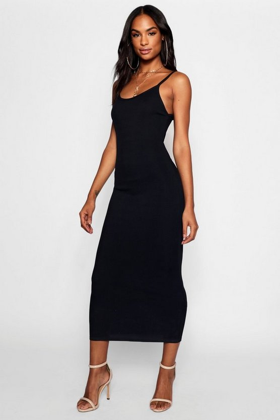Womens Black Tall Strappy Rib Bodycon Midi Dress
