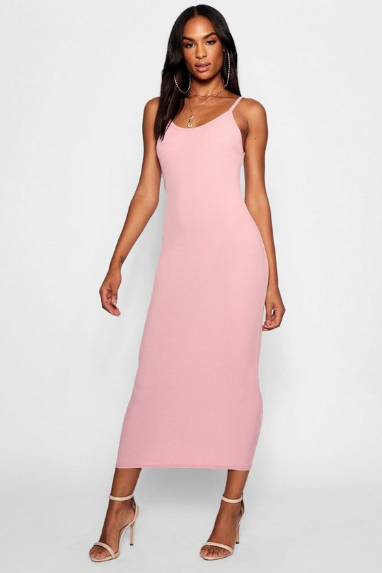 Tall Strappy Rib Bodycon Midi Dress