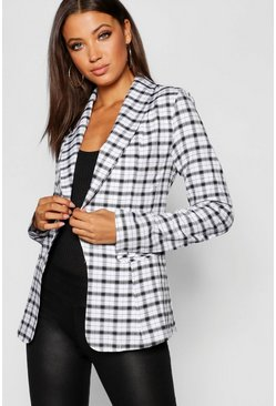 Womens White Tall Checked Blazer