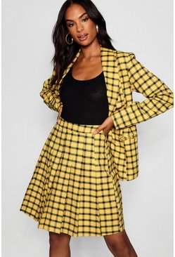 Womens Yellow Tall Checked Blazer