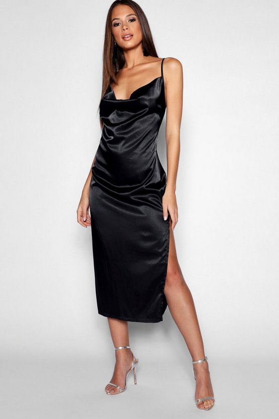 Womens Tall Cowl Neck Satin Midi Dress