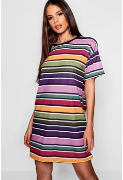 Womens Green Tall Stripe T-Shirt Dress