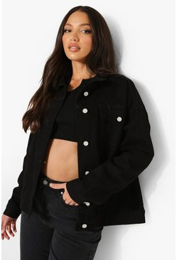 Womens Black Tall Oversized Denim Jacket