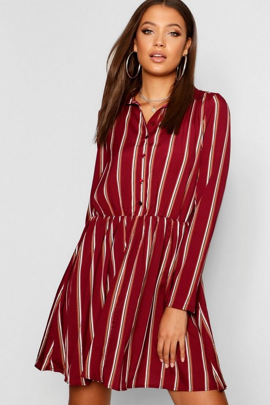 Berry Tall Stripe Shirt Dress