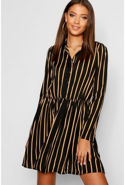 Womens Black Tall Stripe Shirt Dress