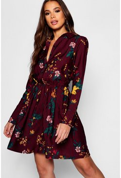 Womens Berry Tall Stripe Floral Shirt Dress