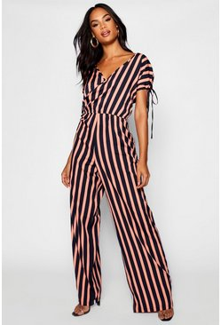 Womens Navy Tall Wrap Front Strip Wide Leg Jumpsuit