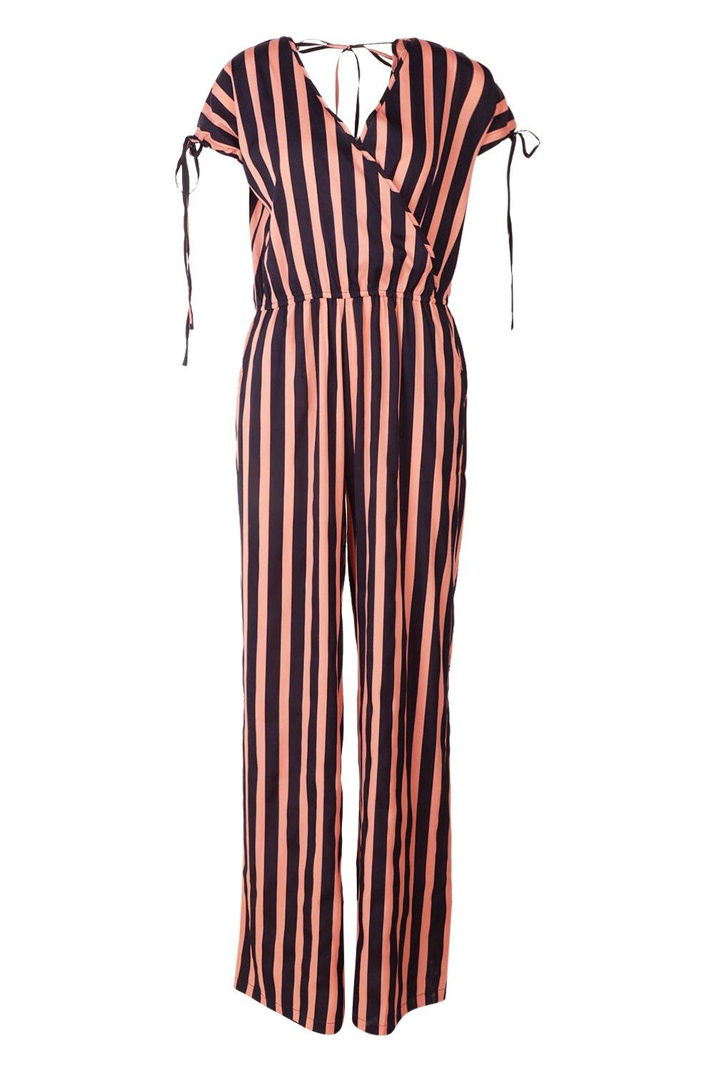 Leg Jumpsuit Tall navy Strip Wrap Front Wide OwOH7Iq