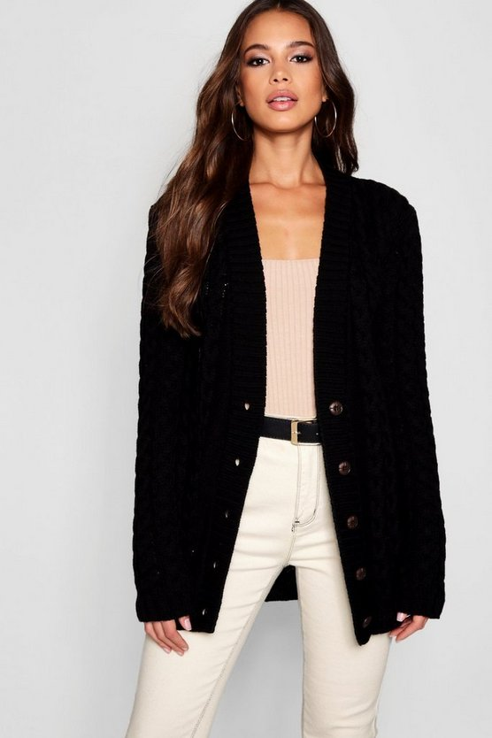 Womens Black Tall All Over Cable Knitted Cardigan